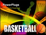 PowerPoint Template - Basketball advertising poster. Vector colored illustration background