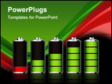 PowerPoint Template - Battery charge showing stages of power running low and full