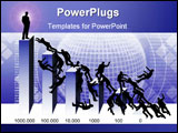 PowerPoint Template - illustration, business people battle from the top,