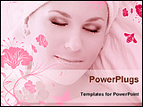 Relaxing face of woman in floral background