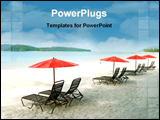 PowerPoint Template - Chairs and umbrellas on empty sand beach