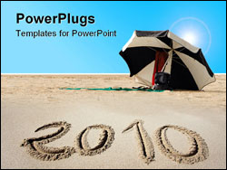 PowerPoint Template - new year 2010 written on beach sand