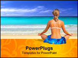 PowerPoint Template - photograph of a beatiful woman in a sarong meditating on the beach in hawaii
