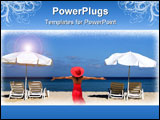 PowerPoint Template - two white umbrellas with sun loungers on a tropical beach