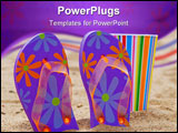 PowerPoint Template - Flip flops and a colorful cup on a beach in the sun.