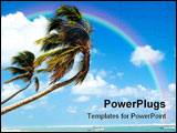 PowerPoint Template - Palm hanging over exotic caribbean beach with the coast in the background.