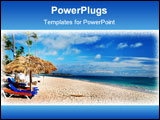PowerPoint Template - Beautiful caribbean beach with chaise lounge in Dominican Republic