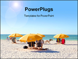 PowerPoint Template - People relaxing on beach chairs under umbrellas in clearwater beach