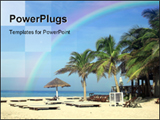 PowerPoint Template - Coconut palms parasol and sunbeds on tropical beach