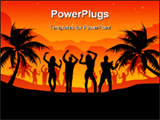 PowerPoint Template - Group of people dancing on a beach