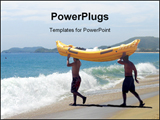 PowerPoint Template - People going for rafting on beach
