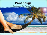 PowerPoint Template - Woman Dangling Her Feet While Sitting on a Palm Tree Overlooking the Ocean