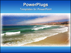 PowerPoint Template - Sandy Beach with Aqua Green Waves Breaking
