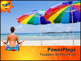 PowerPoint Template - Colorful Beach umbrellas provide some shade on a beautiful Caribbean beach background