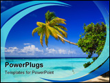 PowerPoint Template - Tropical Paradise at Maldives with palms and blue sky
