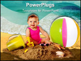 PowerPoint Template - An adorable baby girl happily playing in the sand among beach toys and shells. Isolated on white.