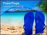 PowerPoint Template - a pair of flip-flops stuck on the sand of a beach