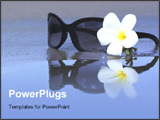 PowerPoint Template - Reflection of Sunglasses and plumeria flower on the beach
