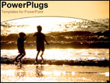 PowerPoint Template - two little boys playing on the beach