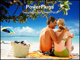 PowerPoint Template - Beach picnic - Rear view of a happy couple sitting at the sea shore
