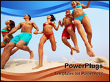 PowerPoint Template - Portrait of happy friends holding by hands and jumping over sandy shore