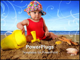 PowerPoint Template - An adorable baby girl in a bathing suit and sun-hat playing in the sand. Isolated on white