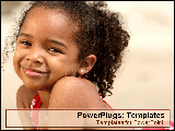 PowerPoint Template - Young girl laying on beach smiling for camera.