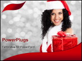 PowerPoint Template - Portrait of a beautiful Christmas girl giving you a gift