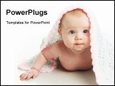 PowerPoint Template - Cute baby girl lying on her tummy with a hand crocheted blanket over her head