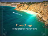PowerPoint Template - Algarve rock - coast in Portugal with a boat