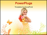 PowerPoint Template - beautiful woman with flowers and floral ornaments