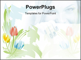 PowerPoint Template - Illustration of colorful flowers for backgrounds and beautiful female.
