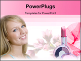 PowerPoint Template - A beautiful young woman with bright blue eyes and blonde hair.