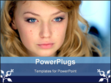 PowerPoint Template - Portrait of a beautiful young girl ** Note: Slight blurriness, best at smaller sizes