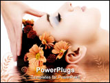 PowerPoint Template - masseuse does relax facial massage to the girl. with reflection on water