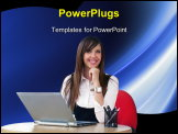 PowerPoint Template - Young happy businesswomen chat on lap-top focus on girl
