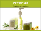 PowerPoint Template - body care products close up on white background