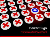 PowerPoint Template - Rows of small 3d buttons one with a different sign