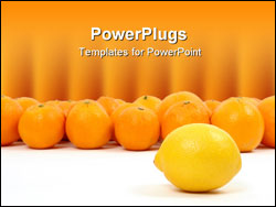 PowerPoint Template - lemon and oranges on a white background symbolizing teamwork, leadership.