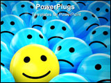 PowerPoint Template - a yellow happy smiley between many blue sad others as concept for unique optimistic positive etc.