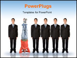PowerPoint Template - business people in a series with a casual guy doing the headstand
