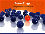 PowerPoint Template - 3D illustration of an orange orb surrounded by blue orbs