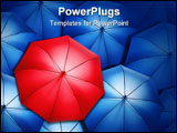 PowerPoint Template - Lonely red umbrella over blue umbrellas. Light coming out of umbrellas.