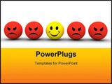 PowerPoint Template - colourful smiley icons representing different emotions and expressions