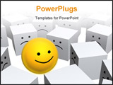 PowerPoint Template - Bright yellow sphere with smile in row of grey boxes