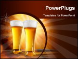 PowerPoint Template - Beer in a glass with gold background