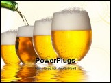 PowerPoint Template - Pouring beer into four glasses with white background and reflection