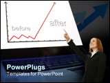 PowerPoint Template - laptop-graph isolated on black