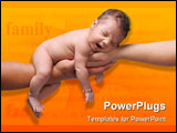 PowerPoint Template - newborn baby yawning and being held by both parents hands on white background