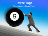 PowerPoint Template - man in a business suit pushing a giant eight ball up a sloping ramp isolated on a white background